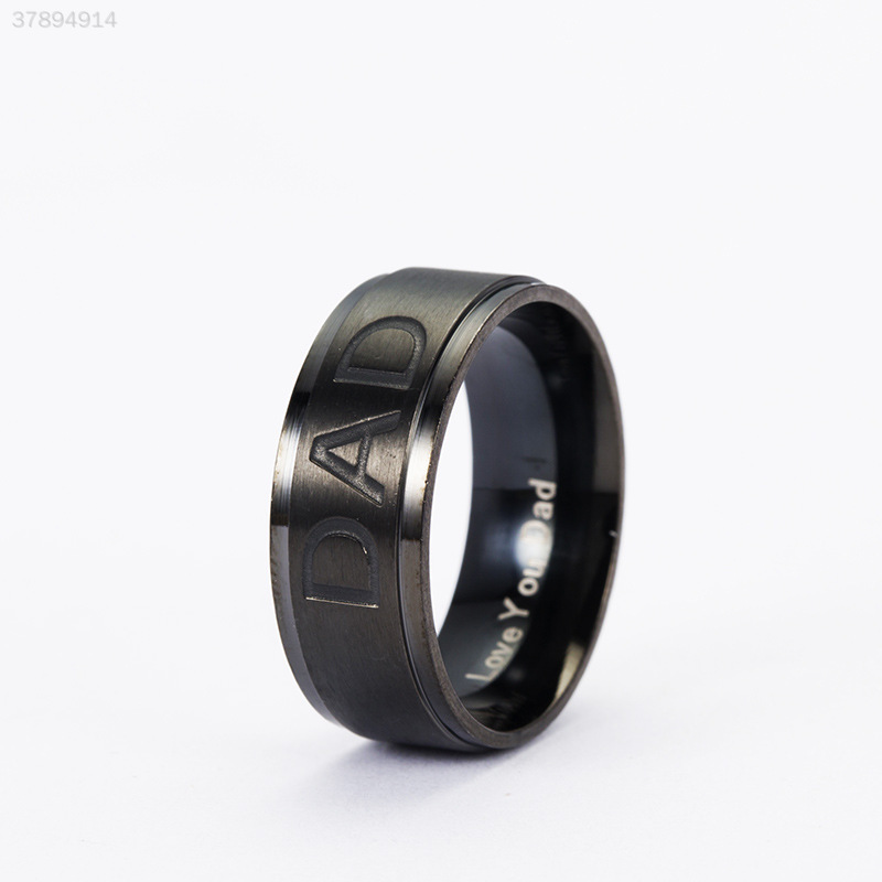 9442-Delicate-Titanium-DAD-Carved-Engraved-Ring-Jewelry-Love-Men-Father-039-s-Day