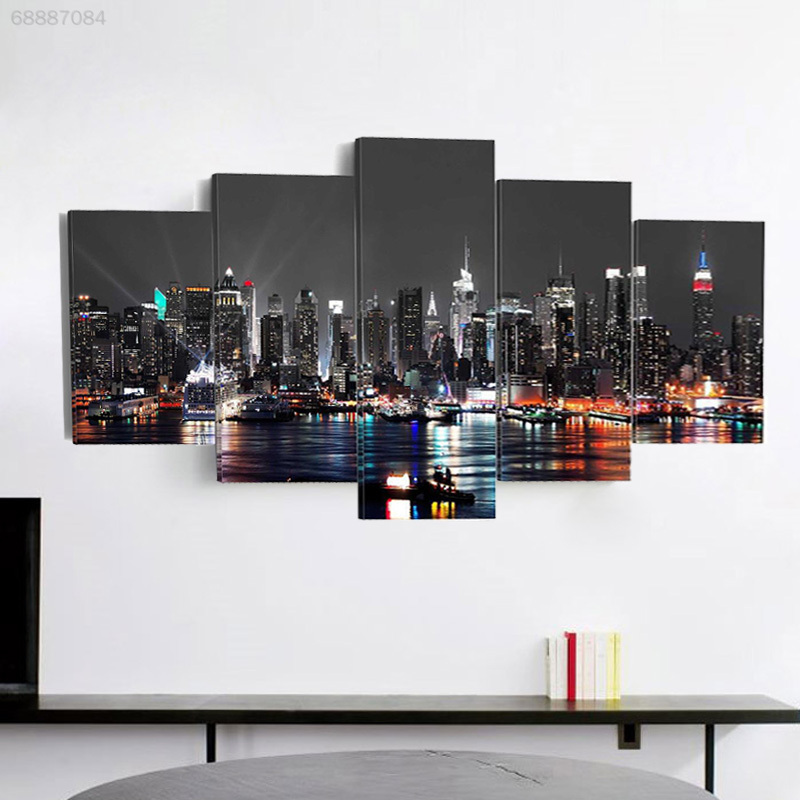 CC0E 5pcs Canvas Oil Paintings Ornament Art Beautiful Large Night Scene Craft
